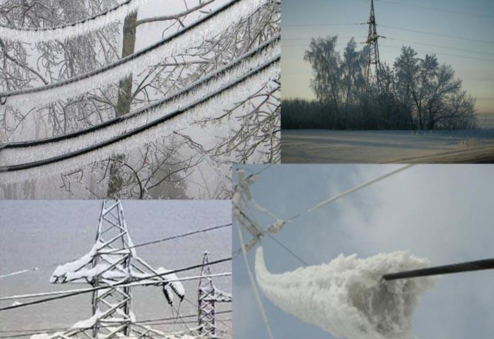 гололедообразование и налипание снега на высоковольтные линии с z проводами