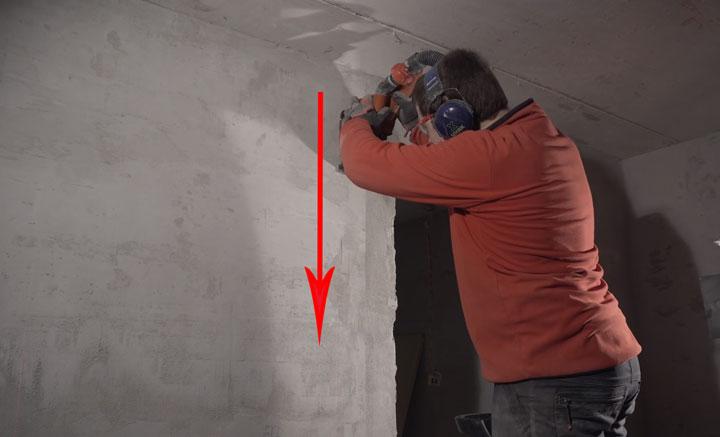 правильное направление реза борозды при штроблении стенки
