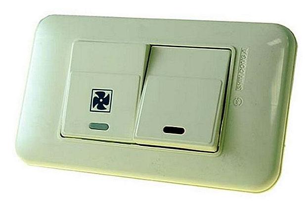 подключение вентилятора в ванной через двухклавишный выключатель