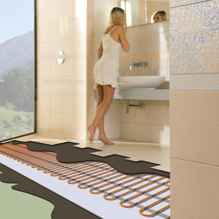 теплый пол под керамической плиткой в ванной комнате