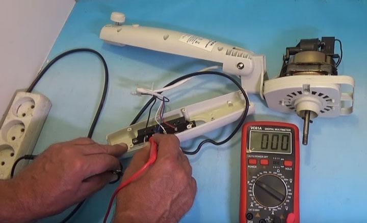 проверка мультиметром проводов питания на вентиляторе