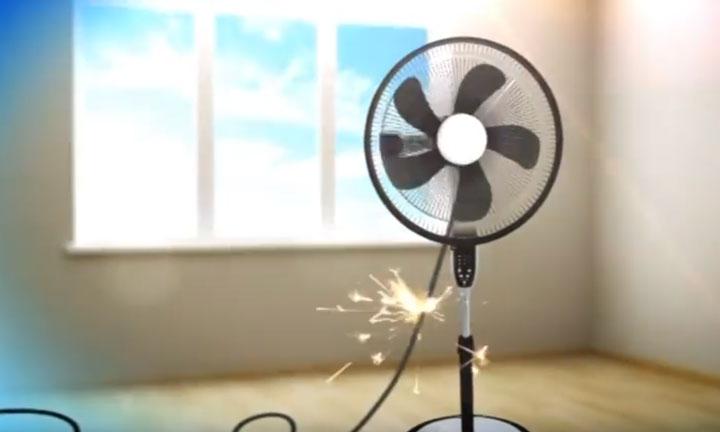 от вентилятора бьет током
