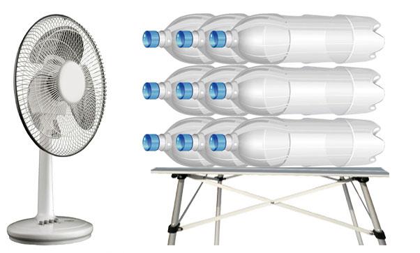 кондиционер из вентилятора и замороженных бутылок