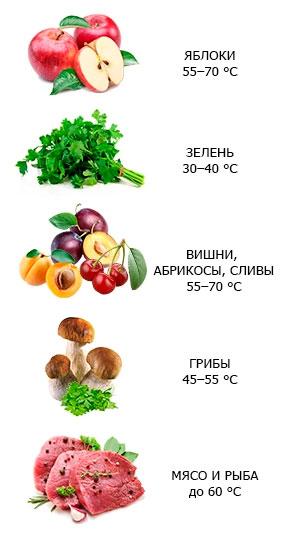 правильная температура прогрева продуктов в электросушилке для овощей и фруктов