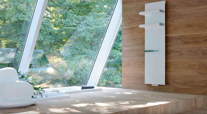 полотенцесушитель в ванной комнате для украшения дизайна