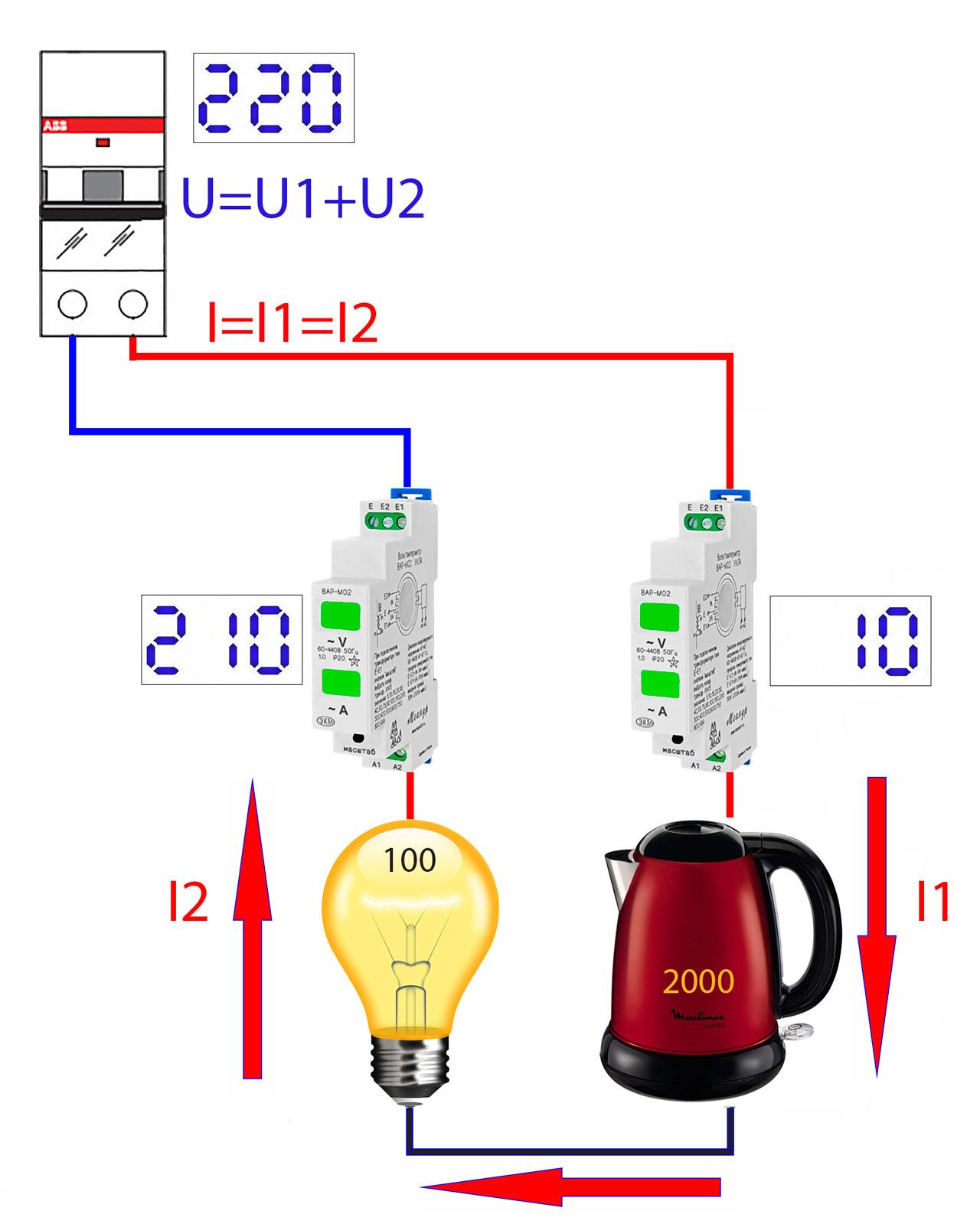 последовательное подключение в сеть 220в приборов разной мощности и ламп накаливания падение напряжения и токи