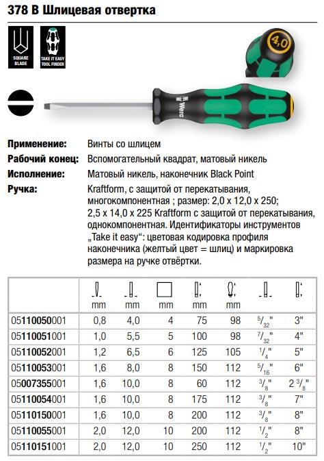 шлицевая отвертка Wera без Lasertip