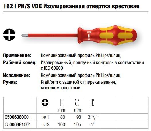 комбинированная отвертка PH/шлиц Wera