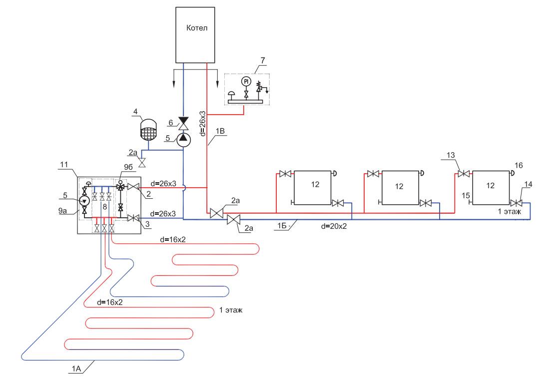 схема отопления теплыми полами с трехходовым клапаном