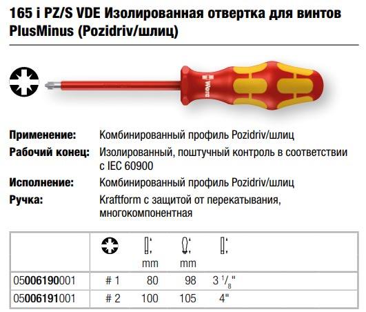 комбинированная отвертка PZ шлиц