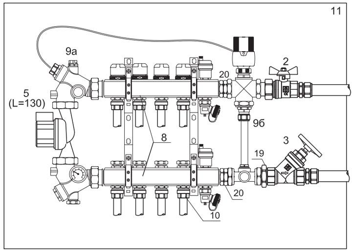 схема сборки коллектора с 3-х ходовым клапаном