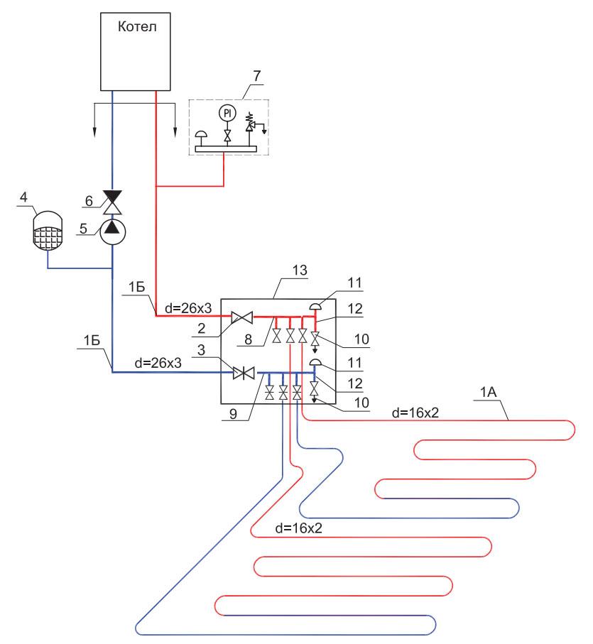 схема прямого подключения теплого пола к котлу отопления