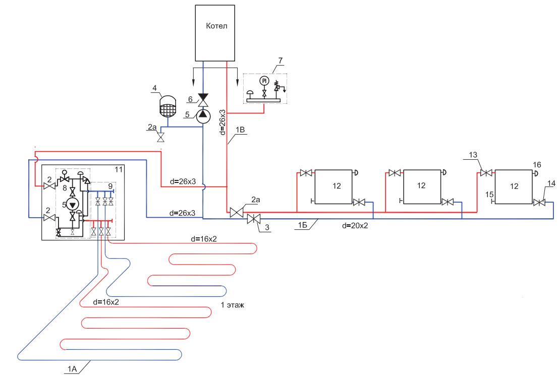 схема подключения теплых полов с насосно смесительным узлом