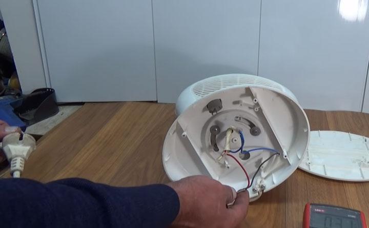 проверка шнура питания на тепловентиляторе