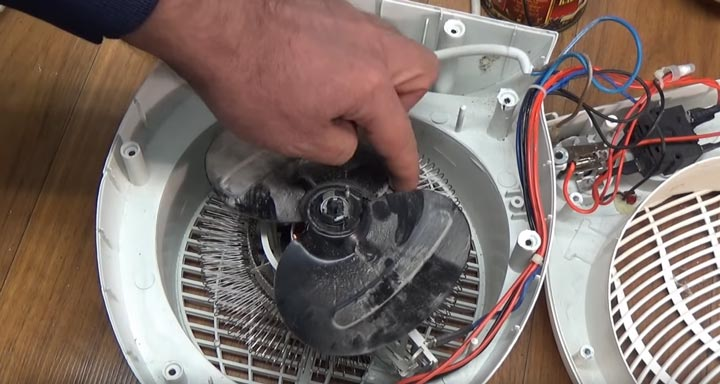 проверка вращения лопастей тепловентилятора