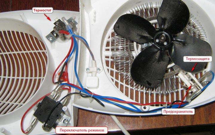 расположение переключателя режимов и термостата в тепловентиляторе
