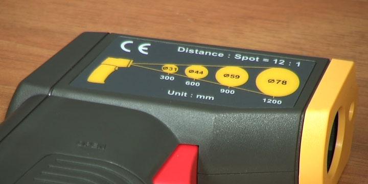 зависимость расстояния и точки измерения температуры пирометром