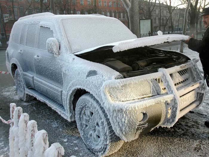 отогрев дизельной пушкой замерзшего автомобиля