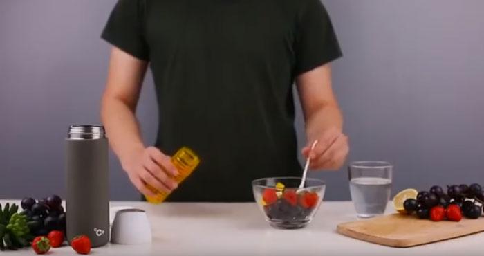 приготовление детокса воды в термосе Xiaomi