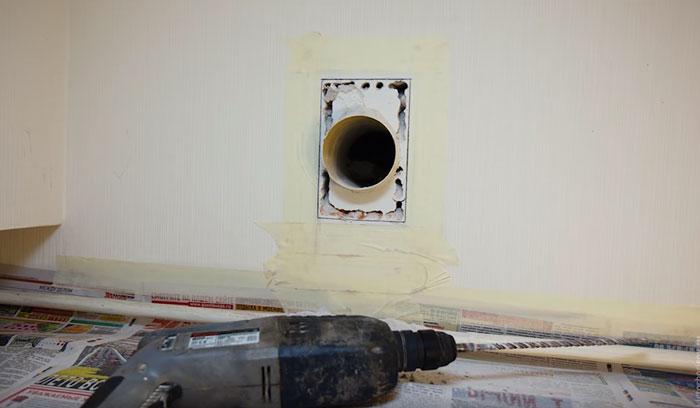 расширение отверстия вентиляционного канала под вытяжку