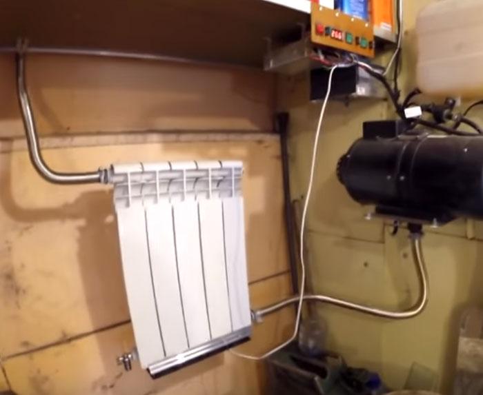 подключение батаерии в гараже от выхлопных газов китайской вебасты автономки
