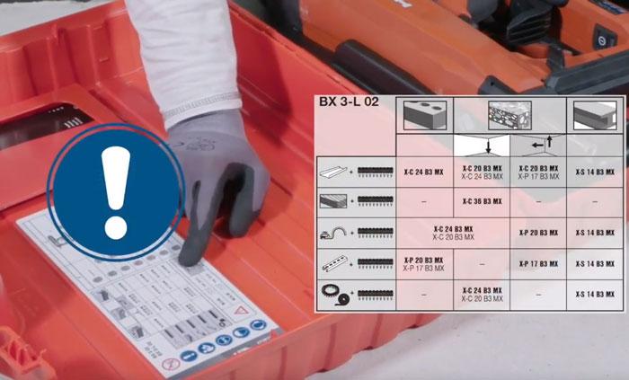 таблица подбора крепже на ящике пистолета хилти BX3 02