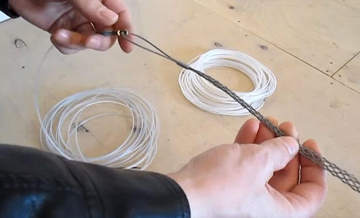 как соединить кабель и протяжку