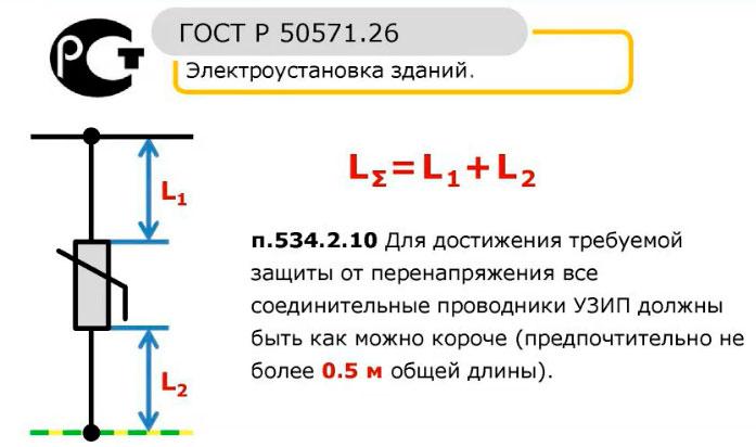 общая длина подключения УЗИП не должна быть больше 50см