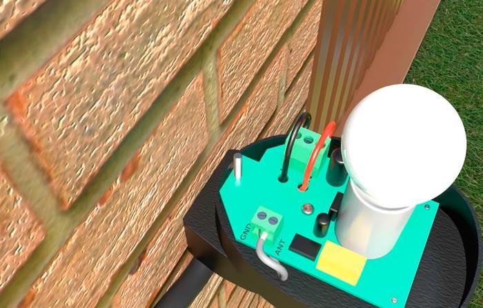 схема подключения сигнальной лампы и антенны откатных ворот
