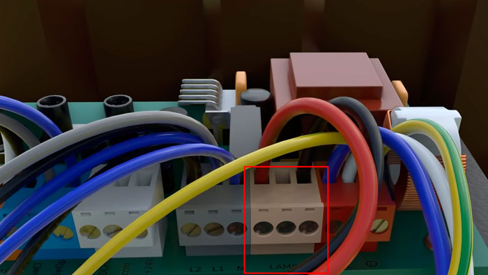 подключение кабеля питания на сигнальную лампу привода автоматики ворот