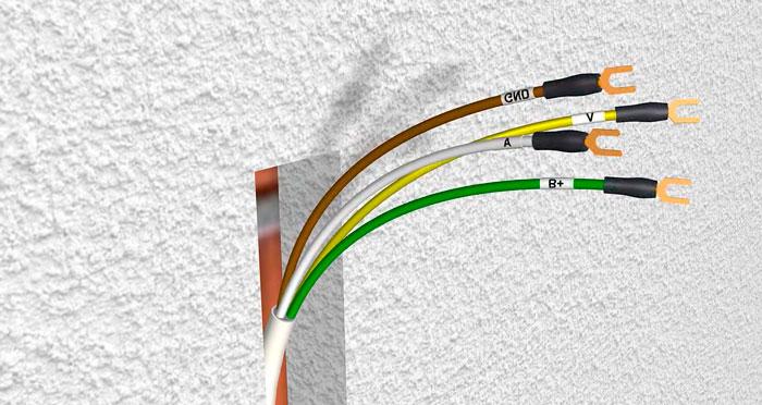 жилы кабеля видеодомофона
