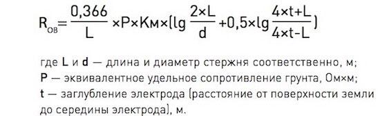 формула расчета сопротивления заземления контура