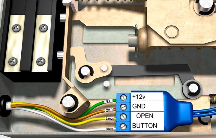 схема подключения БУЗ видеодомофона эл.механического замка