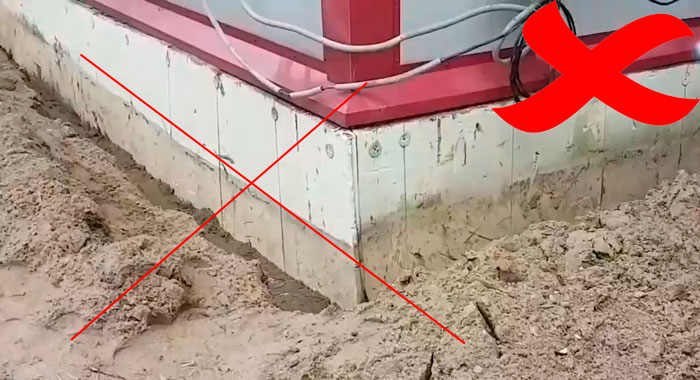 раскопка траншеи под кабель возле фундамента дома запрещена