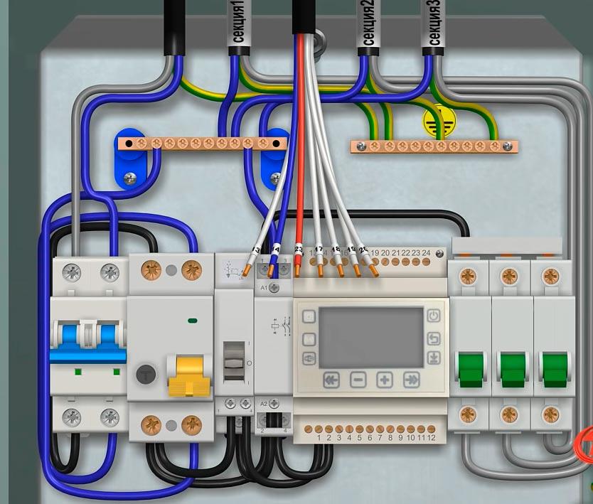 схемы подключения кабелей обогрева разных секций крыши