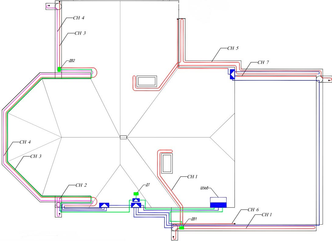 схема прокладки кабеля обогрева антиобледенения крыши дома