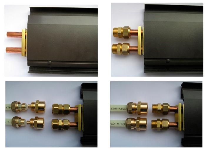 как подключить трубки теплого плинтуса к греющим модулям через фитинги