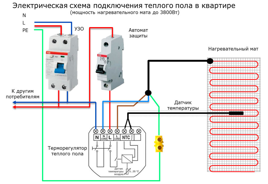 схема подключения теплого пола через терморегулятор