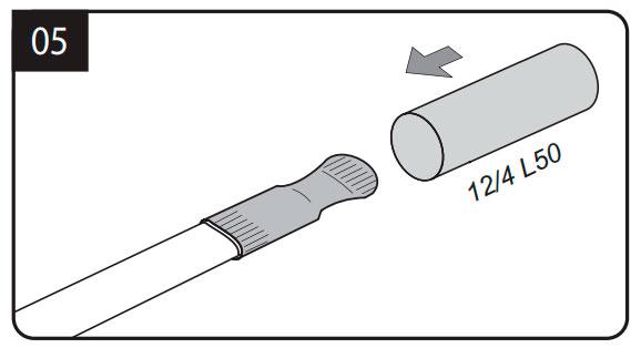 заделка концевой муфты греющего кабеля на трубе
