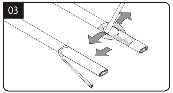 расплетение оплетки греющего кабеля