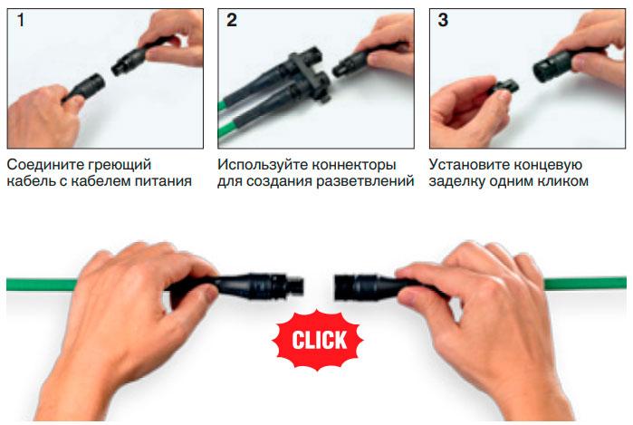 система FlexiClick для подключения греющего кабеля