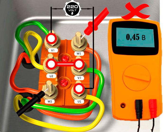 определение начала и конца обмоток на трехфазном электродвигателе при помощи мультиметра