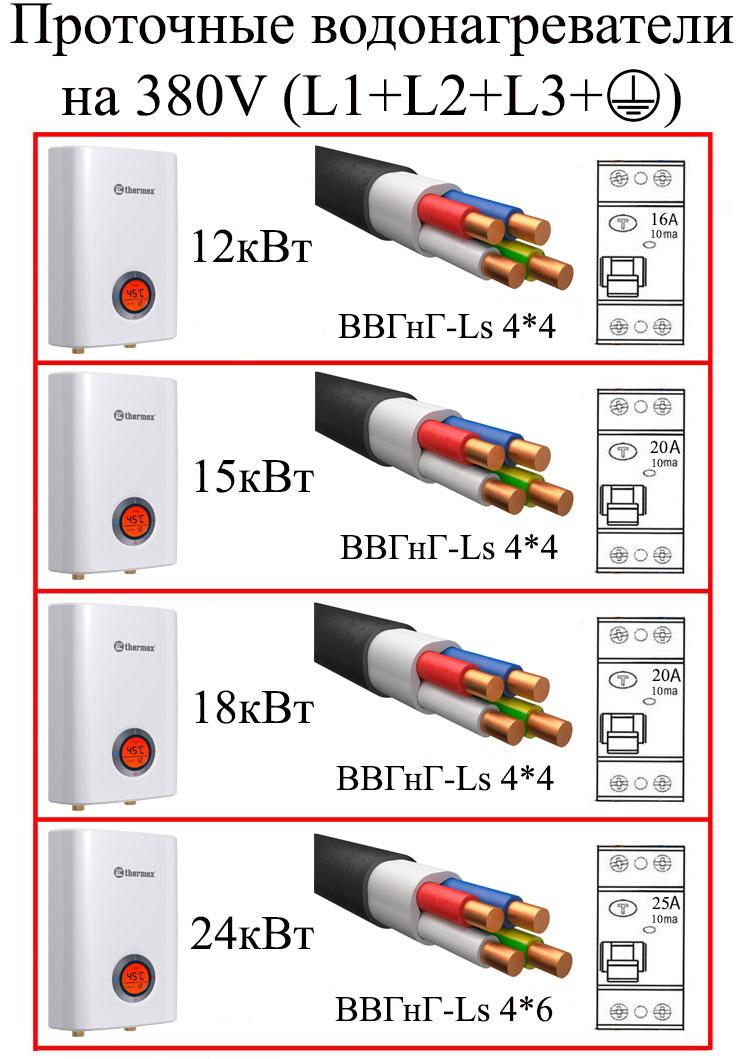 подключение проточного водонагревателя к сети на 380В выбор кабеля узо и автомата