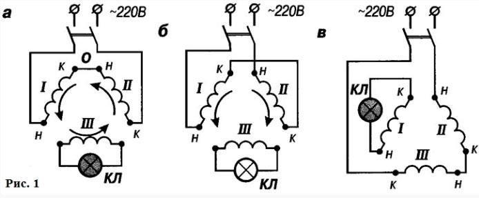метод трансформации на двигателе для определения концов обмоток