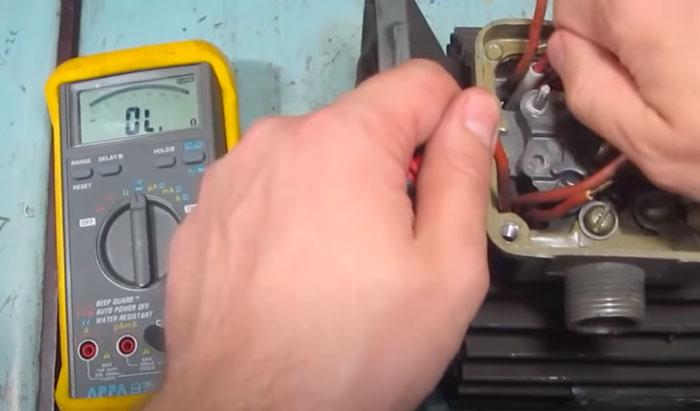 прозвонка обмоток на двигателе мультиметром