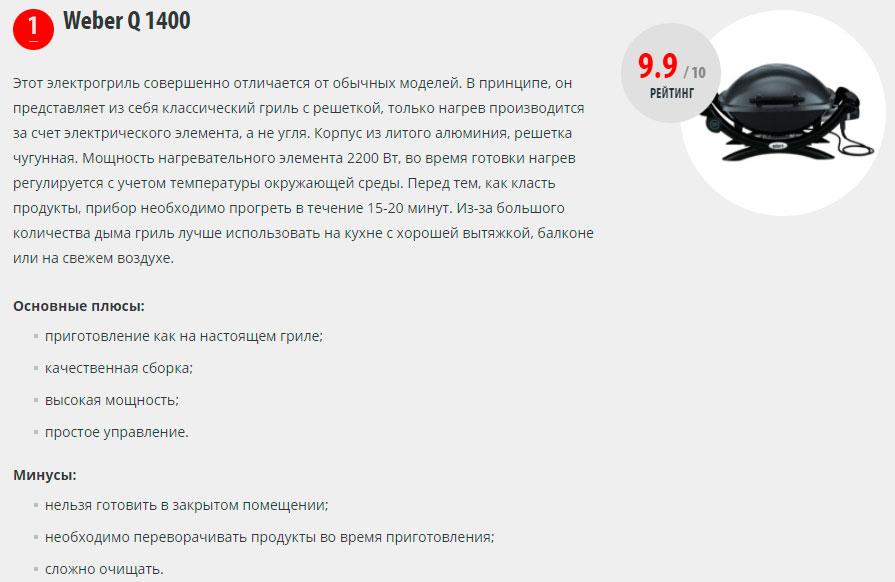 лучшие премиум грили Weber Q 1400