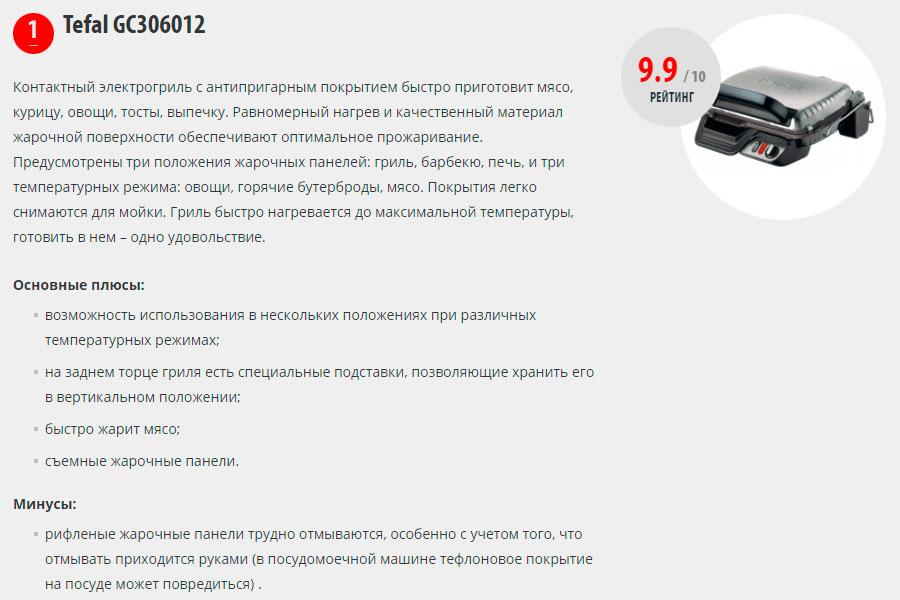 лучшие классические грили Tefal GC306012