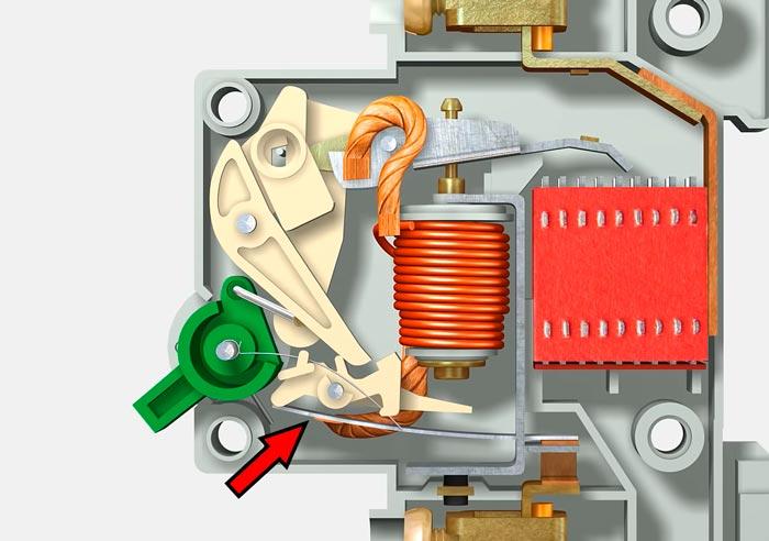 изгиб биметальческой пластины в автоматическом выключателе