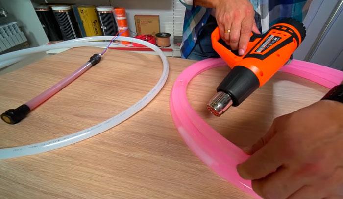 ремонт трубы электроводяного теплого пола феном